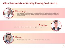 Client Testimonials For Wedding Planning Services Ppt Powerpoint Presentation Icon
