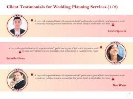 Client Testimonials For Wedding Planning Services R199 Ppt Gallery Grid