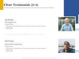 Client Testimonials Founding Retirement Analysis Ppt Layouts Master Slide