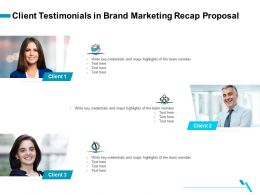Client Testimonials In Brand Marketing Recap Proposal Ppt File Elements