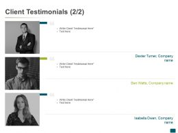 Client Testimonials Ppt Powerpoint Presentation Outline Graphics Tutorials