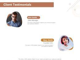 Client Testimonials Sales Founder Ppt Powerpoint Presentation Styles Designs Download