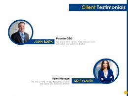 Client Testimonials Sales Manager Ppt Powerpoint Presentation Slides Summary