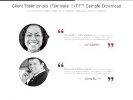 Client Testimonials Template1 Ppt Sample Download