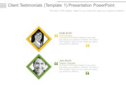 Client Testimonials Template1 Presentation Powerpoint