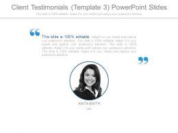 Client Testimonials Template3 Powerpoint Slides