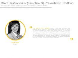 Client Testimonials Template3 Presentation Portfolio