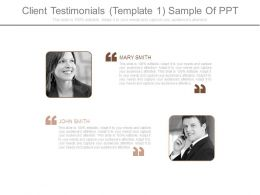 Client Testimonials Template 1 Sample Of Ppt