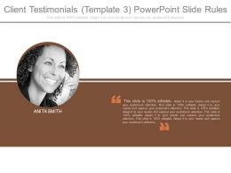 Client Testimonials Template 3 Powerpoint Slide Rules
