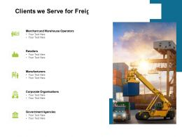 Clients We Serve For Freight Forwarding Business Ppt Powerpoint Presentation Maker