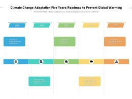 Climate Change Adaptation Five Years Roadmap To Prevent Global Warming