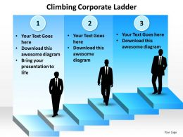 climbing corporate ladder with silhouette of business men powerpoint diagram templates graphics 712