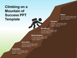 Climbing On A Mountain Of Success Ppt Template