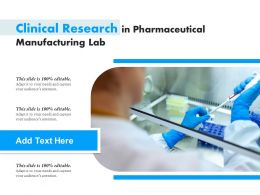 Clinical Research In Pharmaceutical Manufacturing Lab