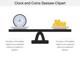 Clock And Coins Seesaw Clipart