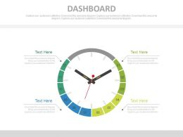 Clock Design Dashboard For Time Management Powerpoint Slides