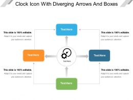 Clock Icon With Diverging Arrows And Boxes