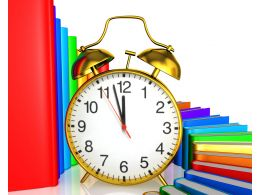 Clock Infront Of Books In Bar Graph Style Stock Photo