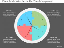 Clock Made With Puzzle For Time Management Flat Powerpoint Design