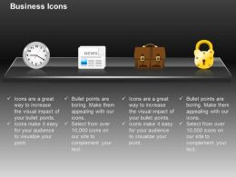 Clock Suitcase Lock News Paper Ppt Icons Graphics