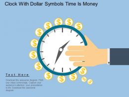 Clock With Dollar Symbols Time Is Money Flat Powerpoint Design