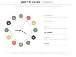 Clock With Multiple Business Process Icons Flat Powerpoint Design