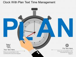 Clock With Plan Text Time Management Flat Powerpoint Design