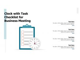 Clock With Task Checklist For Business Meeting