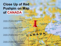 Close Up Of Red Pushpin On Map Of Canada