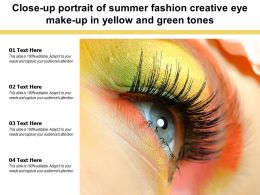 Close Up Portrait Of Summer Fashion Creative Eye Make Up In Yellow Green Tones
