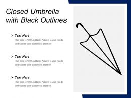 Closed Umbrella With Black Outlines