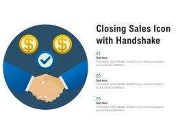 Closing Sales Icon With Handshake