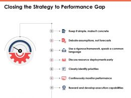 Closing The Strategy To Performance Gap Business Ppt Powerpoint Presentation Model Portrait
