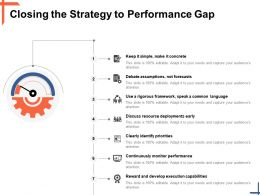 Closing The Strategy To Performance Gap Debate Assumptions Ppt Powerpoint Presentation File Inspiration