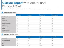 Closure Report With Actual And Planned Cost