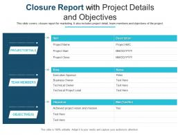 Closure Report With Project Details And Objectives