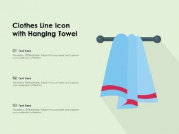 Clothes Line Icon With Hanging Towel