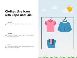 Clothes Line Icon With Rope And Sun