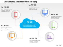 Cloud Computing Connection Mobile And Laptop Flat Powerpoint Design