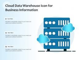 Cloud Data Warehouse Icon For Business Information