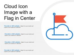 Cloud Icon Image With A Flag In Center