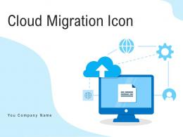 Cloud Migration Icon Directional Arrows Applications Illustrating Server Storage