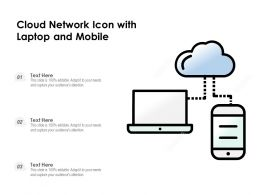 Cloud Network Icon With Laptop And Mobile