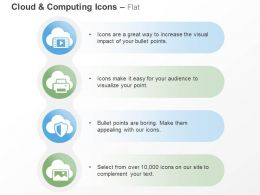 Cloud Printer Shield Data Safety Technology Ppt Icons Graphics