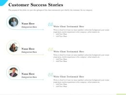 Cloud Service Providers Customer Success Stories Client Testimonial Ppt Summary
