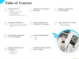 Cloud Service Providers Table Of Content Cloud Computing Models Ppt Show