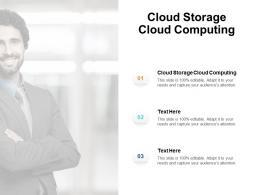 Cloud Storage Cloud Computing Ppt Powerpoint Presentation Portfolio Skills Cpb