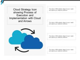 Cloud Strategy Icon Showing Process Of Execution And Implementation With Cloud And Arrows