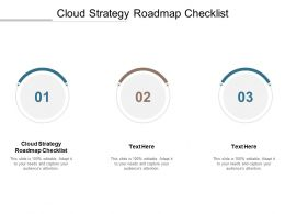 Cloud Strategy Roadmap Checklist Ppt Powerpoint Presentation Infographics Influencers Cpb