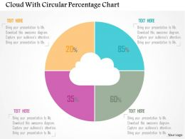 Cloud With Circular Percentage Chart Flat Powerpoint Design